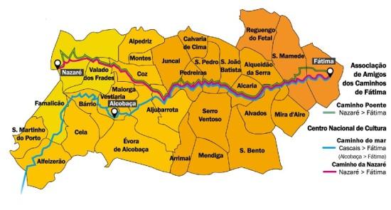 mapa fatima Jornal O Alcoa | Novo caminho do peregrino liga Nazaré a Fátima  mapa fatima